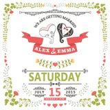 Hochzeitseinladung mit stilisiertem Herzen und Blumenrahmen Lizenzfreies Stockfoto