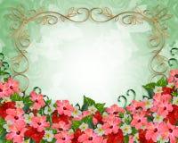 Hochzeitseinladung tropische Blumen Stockfotos