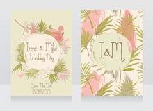 Hochzeitseinladungen in der tropischen Art stock abbildung