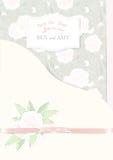 Hochzeitseinladungs-Kartenpfingstrosen auf grünem Hintergrund stellen Sie für Designvektorillustration ein Lizenzfreies Stockfoto