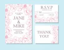 Hochzeitseinladungs-Kartenschablone der Weinlese stellte elegante mit anemon ein Lizenzfreie Stockfotos