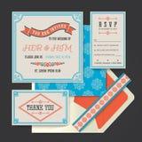 Hochzeitseinladungs-Kartenschablone Vektor der Weinlese Retro- Stockbild