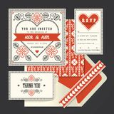 Hochzeitseinladungs-Kartenschablone Vektor der Weinlese Retro- Lizenzfreies Stockfoto