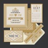 Hochzeitseinladungs-Kartenschablone Vektor der Weinlese Retro- Stockfotos
