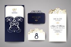 Hochzeitseinladungs- oder -grußkarte mit Goldblumenverzierung Hochzeitseinladungsumschlag für Laser-Ausschnitt lizenzfreie abbildung