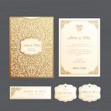 Hochzeitseinladungs- oder -grußkarte mit Weinleseverzierung Papier stockfotografie