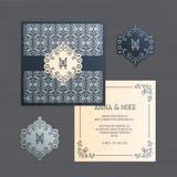Hochzeitseinladungs- oder -grußkarte mit Weinleseverzierung Papier stockfotos