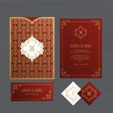 Hochzeitseinladungs- oder -grußkarte mit Weinleseverzierung Papier lizenzfreies stockbild