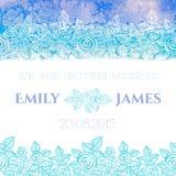 Hochzeitseinladungs- oder -grußkarte mit Zusammenfassung Stockbild