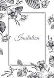Hochzeitseinladungs-Schablonenkarten mit Blumenschmerle Lizenzfreies Stockfoto