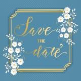 Hochzeitseinladungs- und -mitteilungskarte mit Blumenrahmen Elegante aufwändige Grenze mit handgeschriebenem Text Außer dem Datum stock abbildung