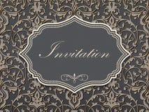 Hochzeitseinladungs- und -mitteilungskarte mit Weinlesehintergrundgrafik Eleganter aufwändiger Damasthintergrund Stockfotografie