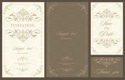 Hochzeitseinladungs-Weinlesekarte mit Blumen Lizenzfreies Stockfoto