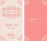Hochzeitseinladungs-Weinlesekarte mit den Blumen- und antiken dekorativen Elementen Stockbilder