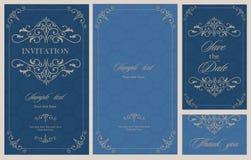 Hochzeitseinladungs-Weinlesekarte mit den Blumen- und antiken dekorativen Elementen Stockbild