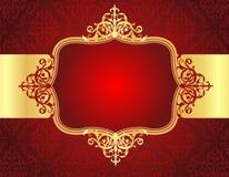 Hochzeitseinladungshintergrund mit rotem Damastmuster Stockbild