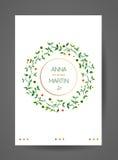 Hochzeitseinladungskarte mit Aquarellblumenniederlassungen stock abbildung