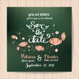 Hochzeitseinladungskarte mit Blume Schablonen-Weinleseart Stockfotografie