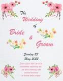Hochzeitseinladungskarte mit Blumen Stockfoto