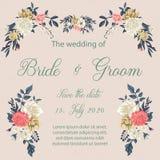 Hochzeitseinladungskarte mit Blumen Stockbilder