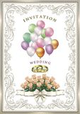 Hochzeitseinladungskarte mit einem Blumenstrauß von empfindlichen Rosen Stockbild