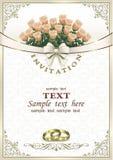Hochzeitseinladungskarte mit einem Blumenstrauß von Rosen und von Ringen Stockfoto