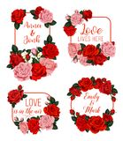 Hochzeitseinladungskarte mit rosafarbenem Blumenrahmen Lizenzfreie Stockfotografie