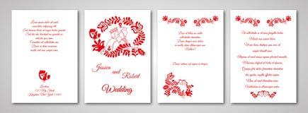 Hochzeitseinladungskarte mit ungarischer Verzierung stockbilder