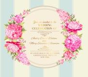Hochzeitseinladungskarte von Farbblumen Vektor Stockfotografie