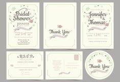 Hochzeitseinladungskarten-Minimalistart Blumen-Kranz-Konzept Lizenzfreie Stockfotografie