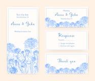 Hochzeitseinladungskarten mit Chrysantheme Verschiedene vertikale und horizontale Zusammensetzungen einfarbiger Vektor Stockbild