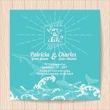 Hochzeitseinladungskartenschablonen-Ozeanthema Stockbilder