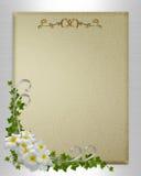 Hochzeitseinladungsplumeria und -efeu Lizenzfreie Stockfotos