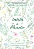 Hochzeitseinladungsrahmen mit Kräutern und wilden Blumen Lizenzfreies Stockbild