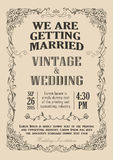 Hochzeitseinladungsrahmenweinlese-Grenzvektor Lizenzfreie Stockbilder
