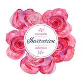 Hochzeitseinladungsschablone mit roten Rosen mit Aquarellbeschaffenheit Stockfotos