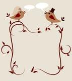 Hochzeitseinladungsschablone, zwei Vögel Stockbild