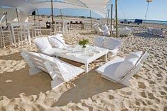 Hochzeitsempfang auf dem Strand Lizenzfreies Stockfoto