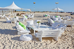 Hochzeitsempfang auf dem Strand Stockbilder