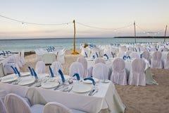 Hochzeitsempfang auf dem Strand Stockbild