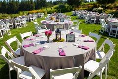 Hochzeitsempfang-Tabellen-Details Stockfotos