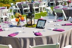 Hochzeitsempfang-Tabellen-Details Lizenzfreie Stockfotografie