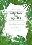 Hochzeitsereigniseinladungs-Kartenschablone Exotischer tropischer Dschungel r lizenzfreie abbildung