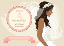 Hochzeitsfahne mit schöner Braut, Einladung für Brautdusche Stockbild