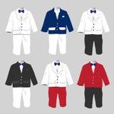 Hochzeitsfest der Smokings-Baby-formellen Kleidung mit Fliege Vektor IL Stockbilder