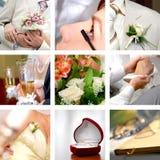 Hochzeitsfotos eingestellt Stockbild