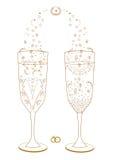 Hochzeitsgläser verziert für die Braut und den Bräutigam lizenzfreie abbildung