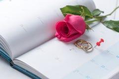 Hochzeitsgoldringe und -stift vom Kalender Stockbild
