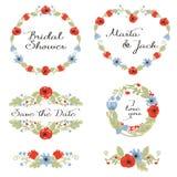Hochzeitsgraphik eingestellt: Rahmen, Kranz und Blumen Lizenzfreie Stockbilder