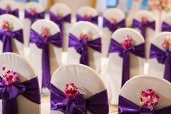Hochzeitshalle und -stühle Lizenzfreies Stockfoto